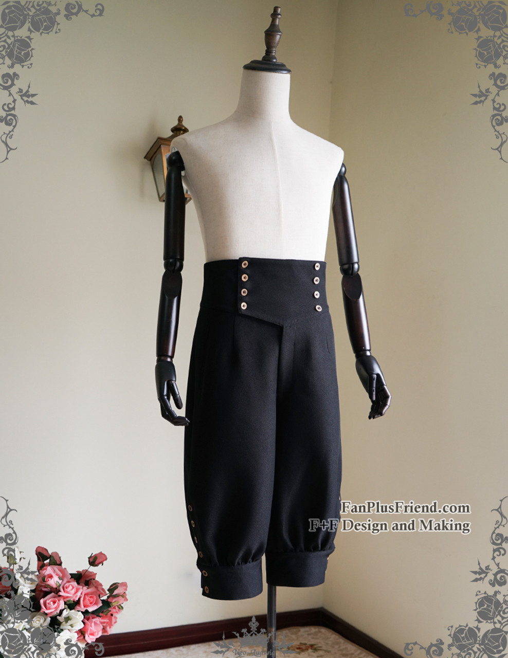 Steampunk Riding Breeches High Waisted Shorts Black Shorts GYN81UavRp