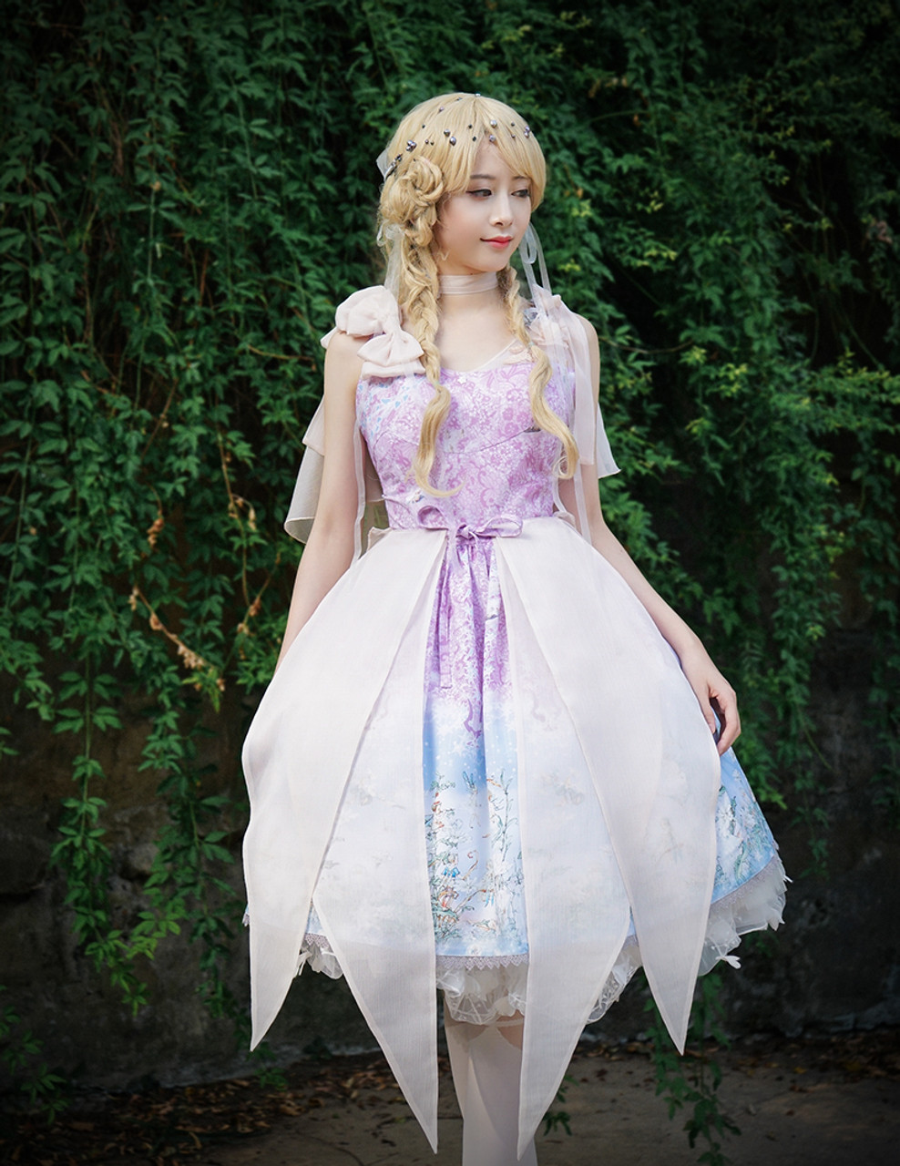 Last Chance Fairy Lolita Floral Midi Dress Cape Dress Summer Ball ...