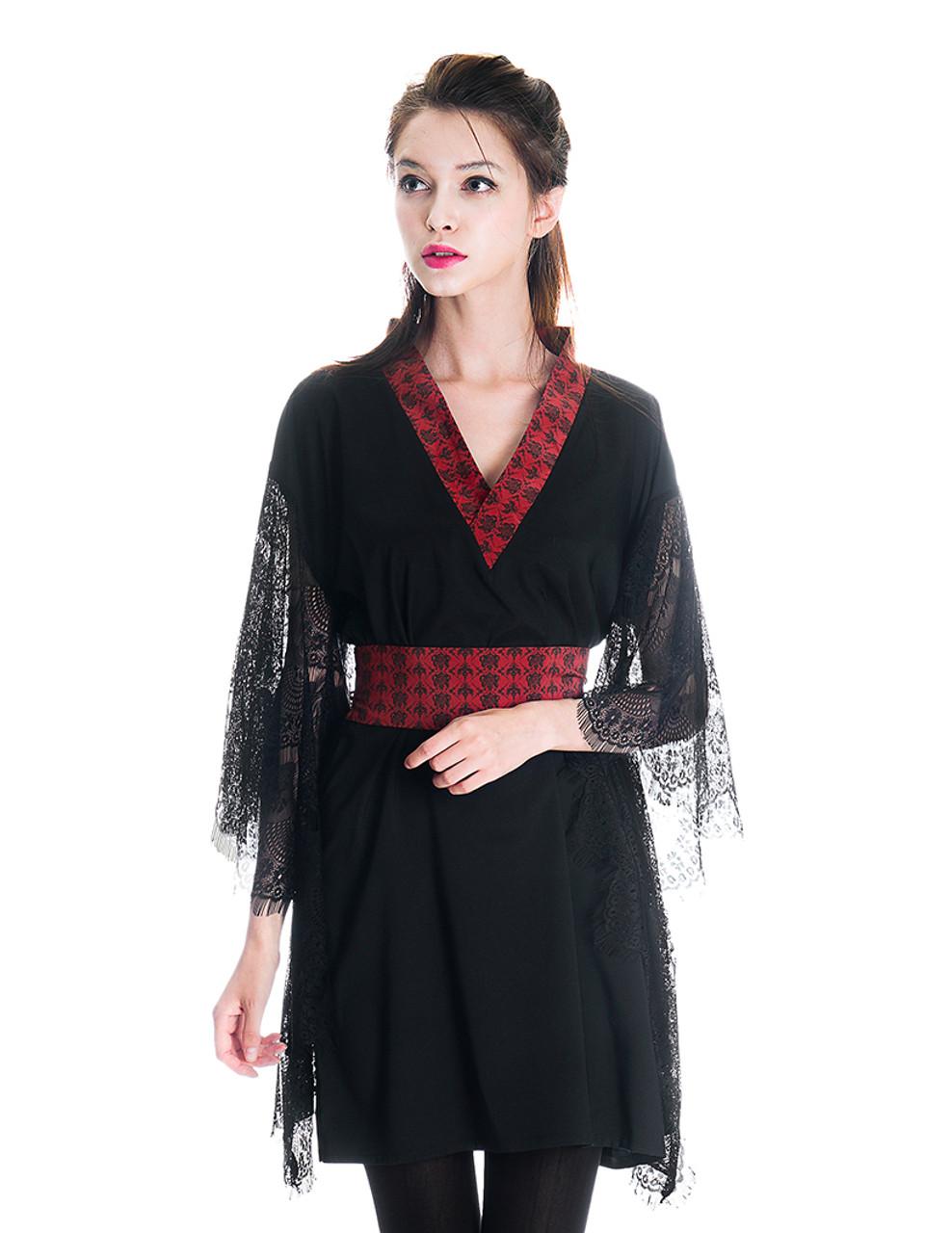 Lolita Silk Dress Black Lace Dress Kimono Dress Kimono Robe & Obi