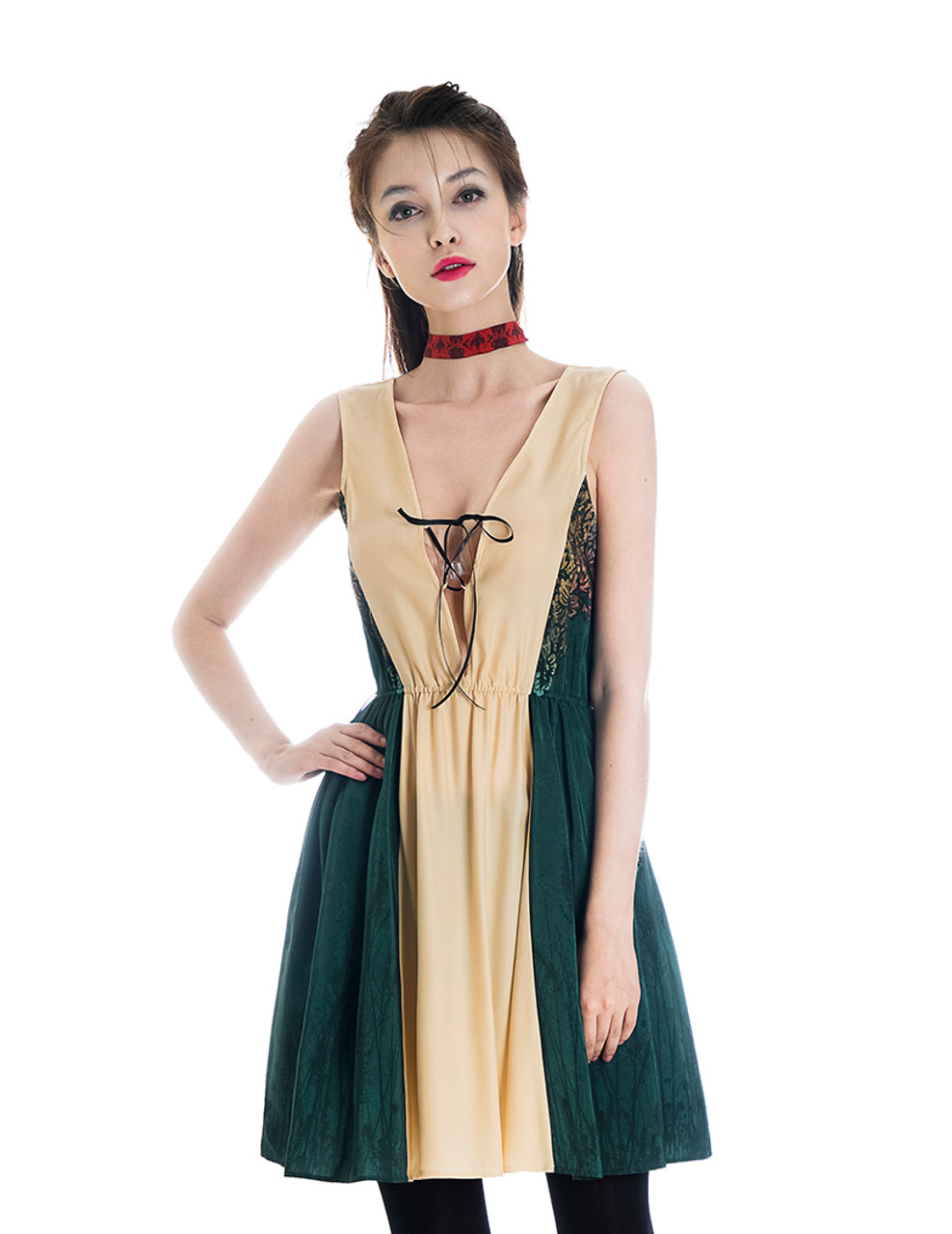 Vintage Silk Dress Floral Dress Preppy One Piece Midi Dress *Green Blue