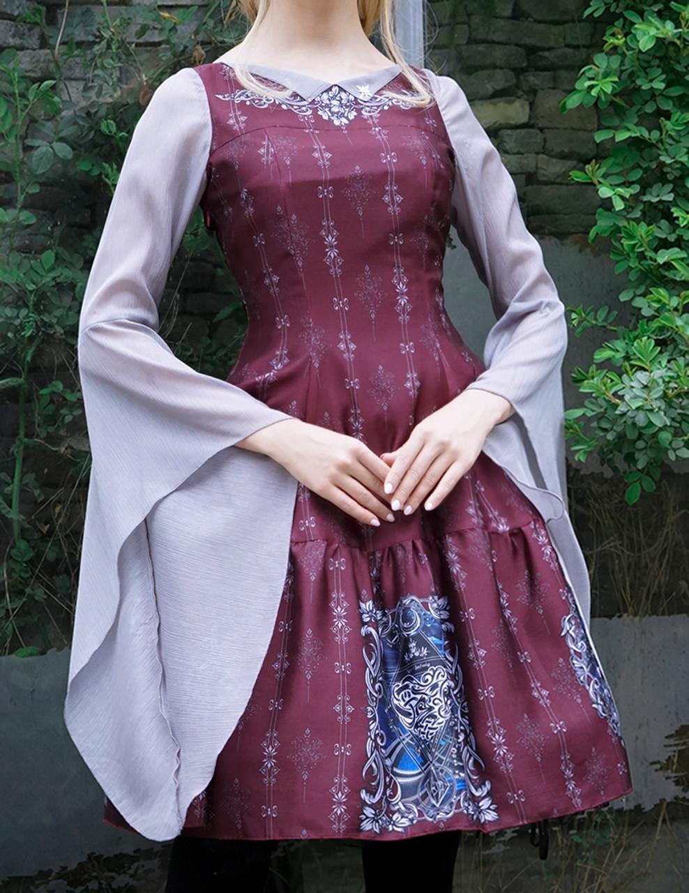 Gothic Fashion Printed Midi Dress Medieval Retro Fairy Ethereal Long ...