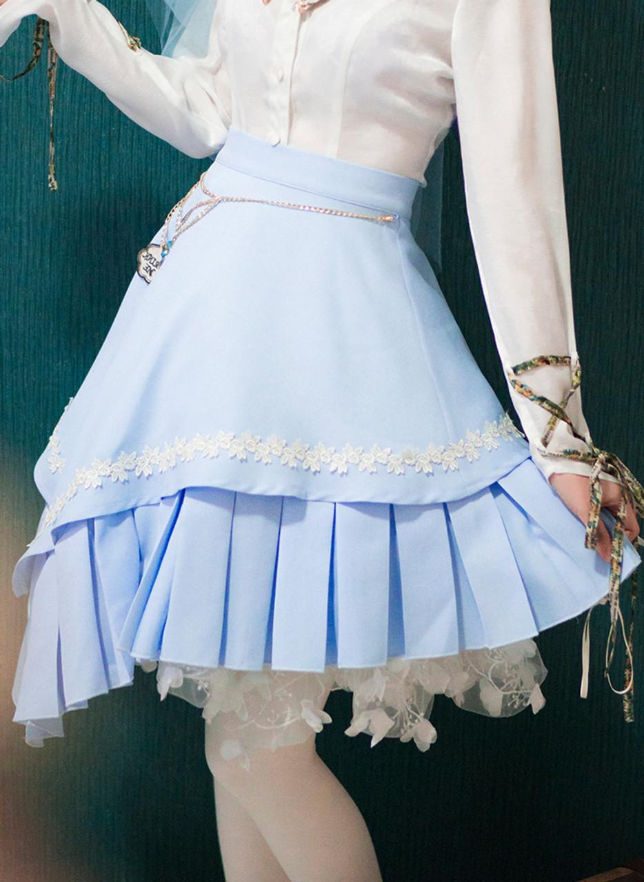 Exclusive Lolita Midi Skirt Women Bias Blue Red Skirt and Handmade Waist  Accessory