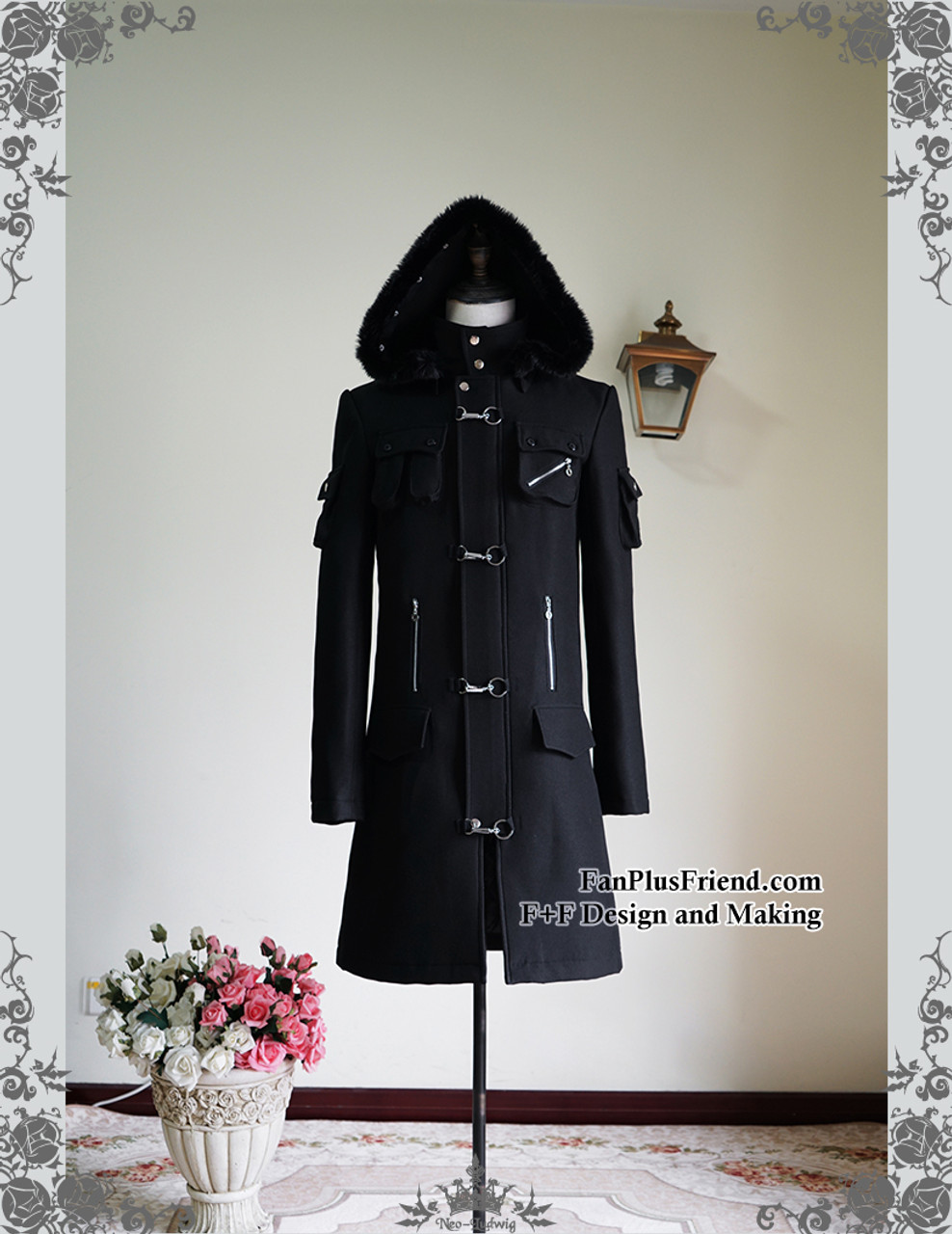 Steampunk Gothic Dandy Long Wool Coat for Man Unisex Trench