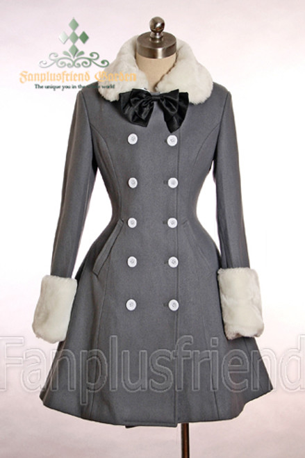 Last Chance: Gothic Lolita Thick  Wool Neat Double Breast High Slit Coat*2colors Instant Shipping