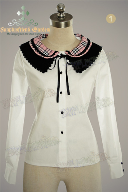 Last Chance: Mori Girl,Peter Pan Loose Cutie Blouse, Double-Layer Colorful Collar*Cream+Dark Blue Plaid, Lady 70 Instant Shipping