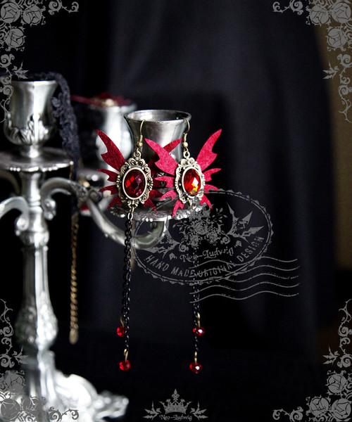 Elegant Gothic Vampire Butterfly Earrings