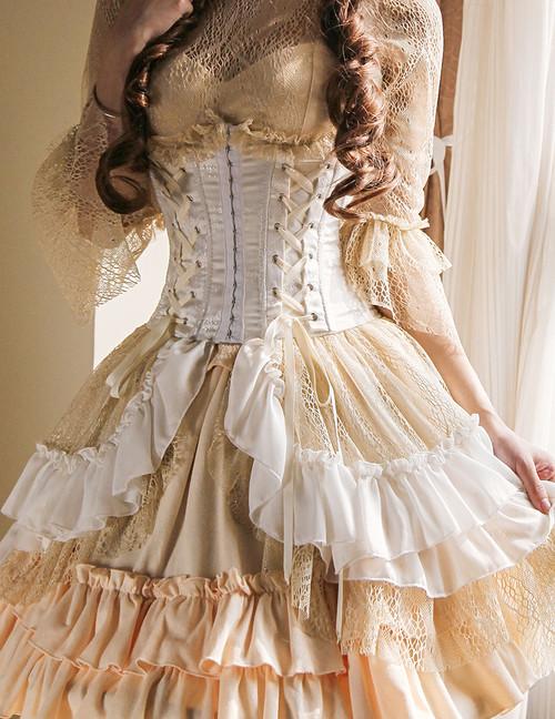 Model Show (White + Gold Ivory Mixed Lace Ver.) (cutsew: TP00101N, pannier bloomers: UN00024, birdcage petticoat: UN00003N)