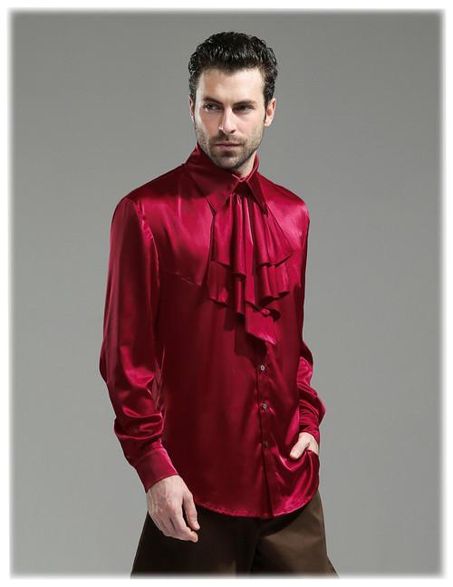 Steampunk 100% Mulberry Silk Dress Shirt Cravat Set Black Grey Burgundy