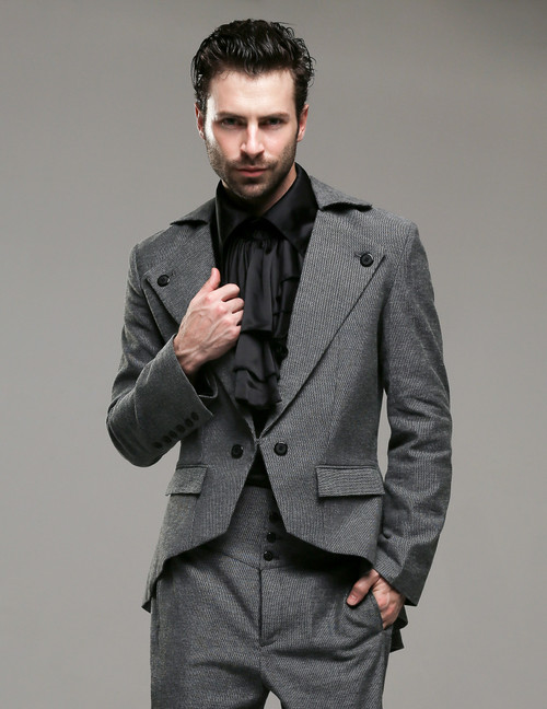 Last Chance: Belle Epoque, Elegant Dandy Victorian Low Neckline Coattail Jacket for Man*Man M Instant Shipping