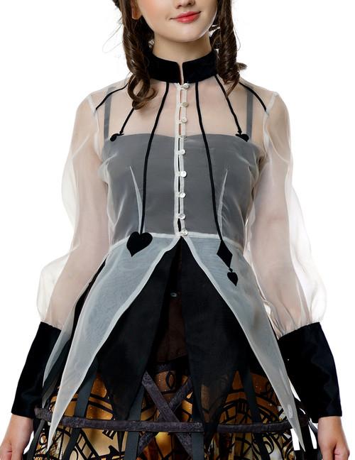 Steampunk Summer Shirt Blouse Transparent Organdy Blouse Ivory