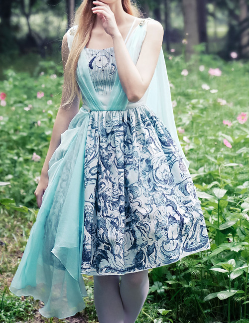 Last Chance: Vintage Midi Printed Dress Ancient Greek Goddess Dress Summer Dress Set Last Chance On Sale