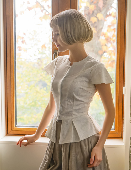 Last Chance: Vintage Shirt Short Sleeve Blouse Cap Sleeve Jacquard* Black White