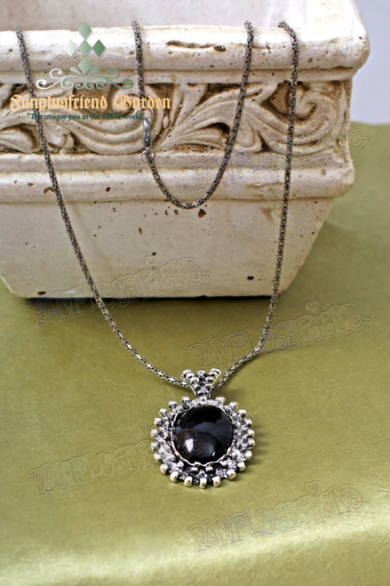 Gothic Black Jewel Decorated Pendant Necklace