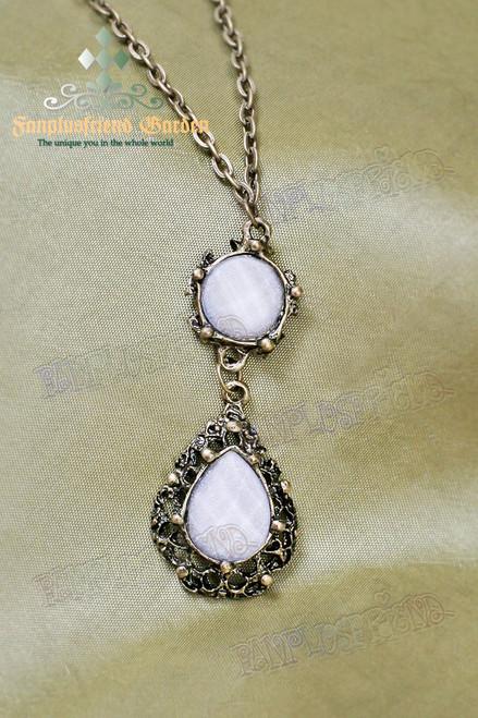 Gothic Elegant White Crystal Necklace