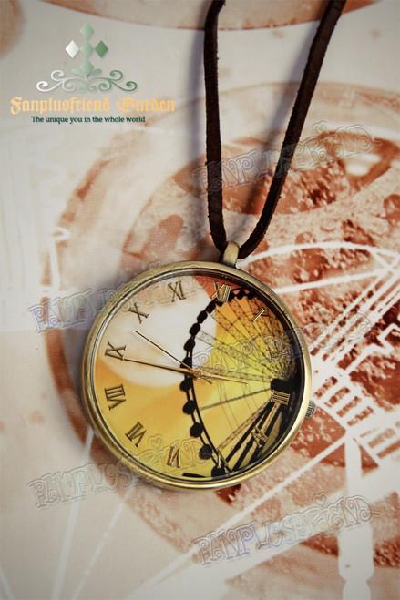 Retro Ferris Wheel & Moon Print Watch Necklace