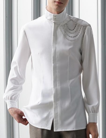 Stand Color Blouse Designs : Vintage stand collar shirt men handmade shoulder