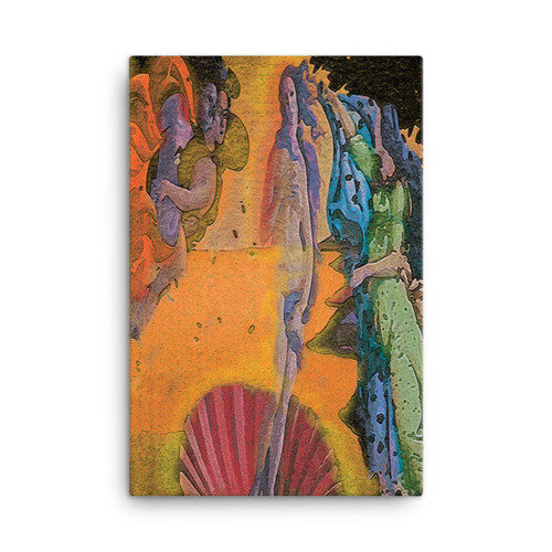 "Botticelli ""Venus in Light"" Neoclassical Pop Art Print on Canvas"
