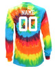 "Custom Softball Tie Dye Rainbow Long Sleeve ""Play Tough Get Dirty"" White Logo"