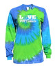 "Softball Tie Dye Blue/Green Long Sleeve ""Love Softball"" White Logo"