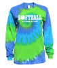 "Softball Tie Dye Blue/Green Long Sleeve ""Play Tough Get Dirty"" White Logo"