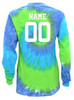 "Custom Softball Tie Dye Blue/Green Long Sleeve ""Play Tough Get Dirty"" White Logo"