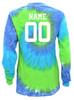 "Custom Softball Tie Dye Blue/Green Long Sleeve ""Play Tough"" Large Logo"