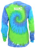 "Custom Swimming Tie Dye Blue/Green Long Sleeve ""Swimmer"" Logo"