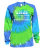"Volleyball Tie Dye Blue/Green Long Sleeve ""Bump Set Spike"" Logo"
