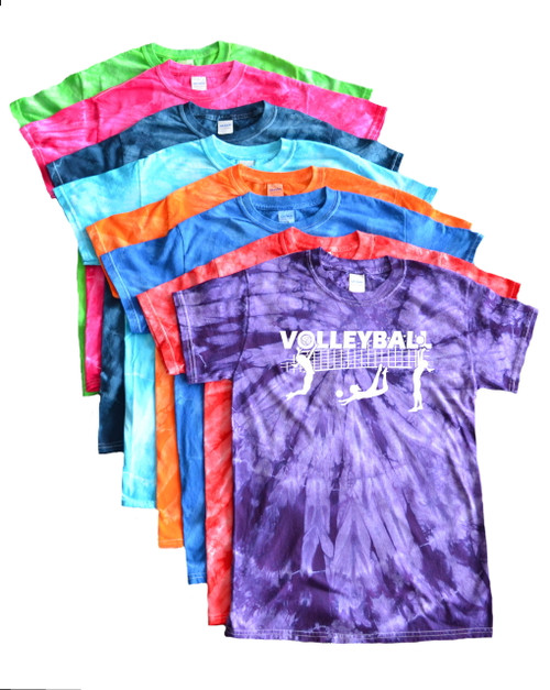 "Volleyball Tie Dye T-Shirt ""Players with Net"" Logo"