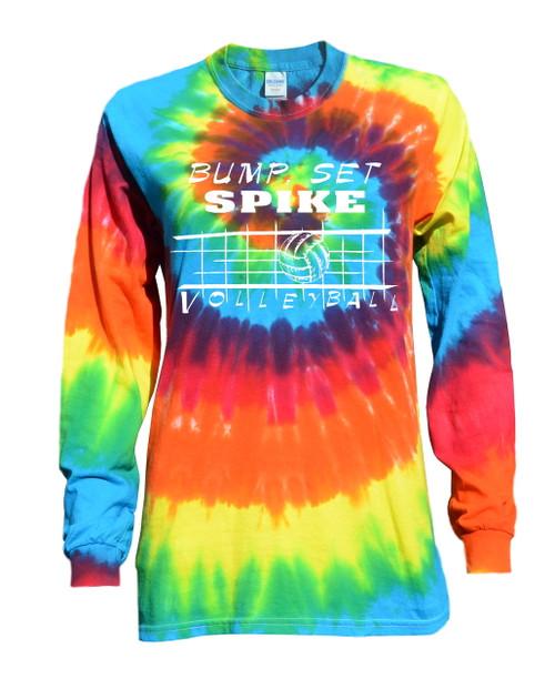 "Volleyball Tie Dye Rainbow Long Sleeve ""Bump Set Spike"" Logo"