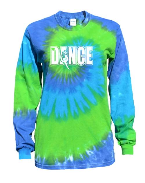 "Dance Tie Dye Blue/Green Long Sleeve ""Dancer"" Logo"