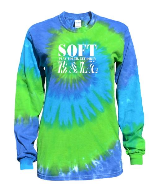"Softball Tie Dye Blue/Green Long Sleeve ""Stacked"" Logo"