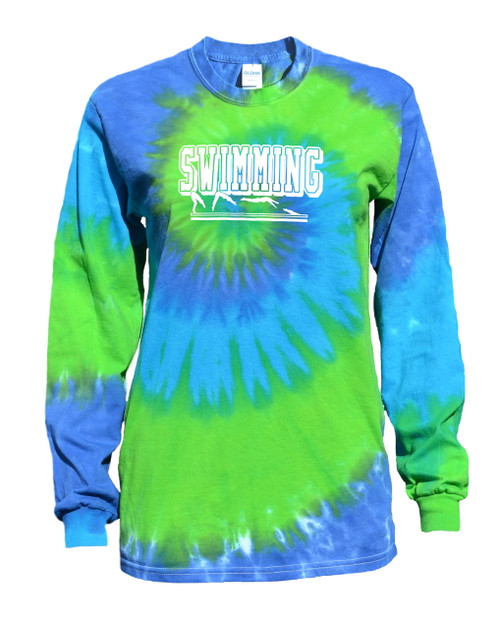 "Swimming Tie Dye Blue/Green Long Sleeve ""Swimmer"" Logo"