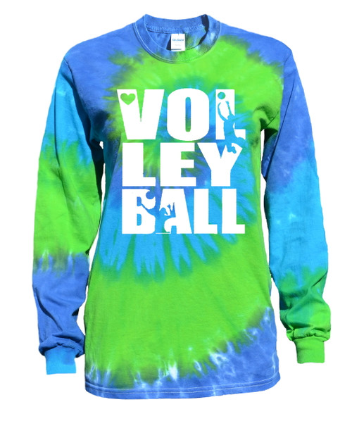 "Volleyball Tie Dye Blue/Green Long Sleeve ""Stacked"" Logo"