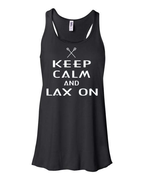 "Lacrosse Flowy Tank ""Keep Calm LAX On"" White Logo"