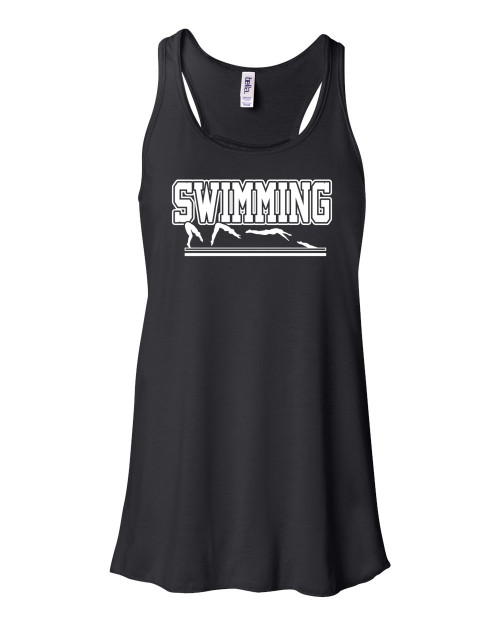 "Swimming Flowy Tank ""Swimmer in Action"" Logo"
