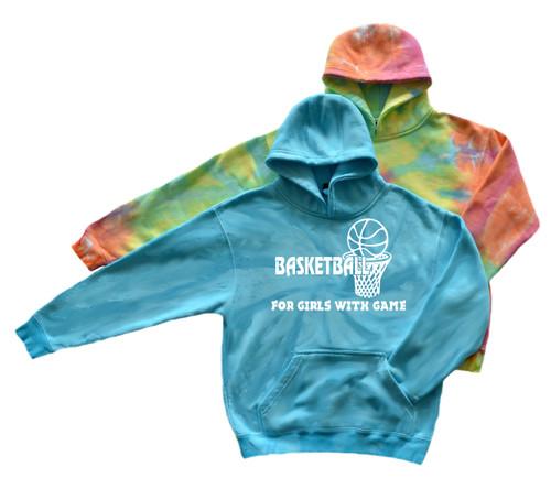 "Basketball Youth Tie Dye Sweatshirt ""Girls with Game"" Logo"