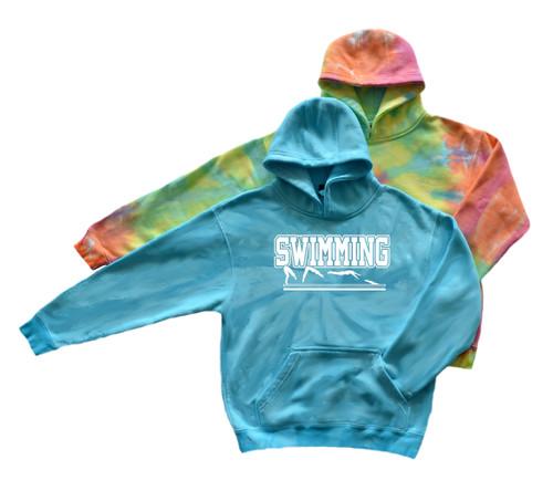 "Swimming Youth Tie Dye Sweatshirt ""Swimmer in Action"" Logo"