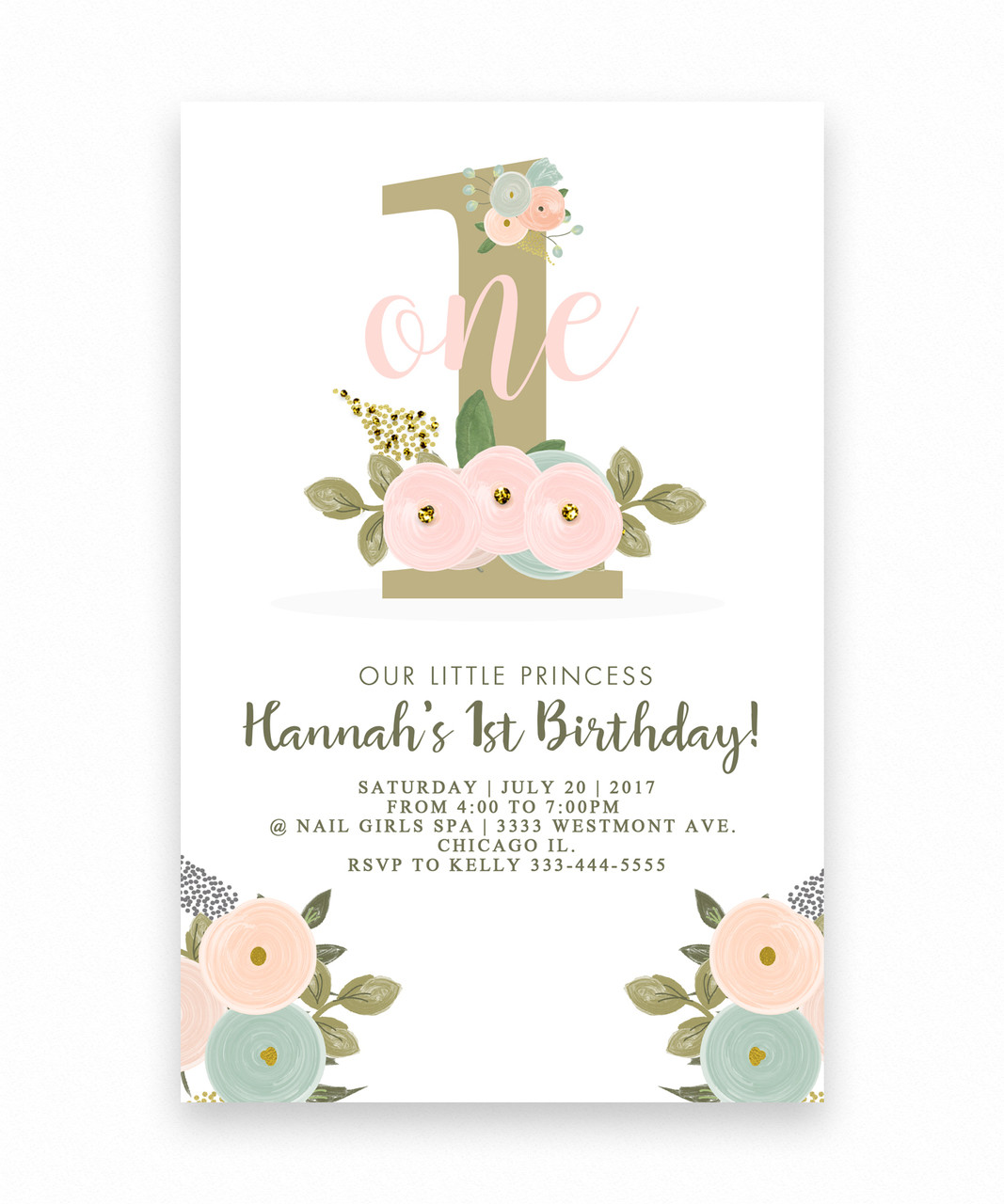 Big one Floral birthday invitation for a girl