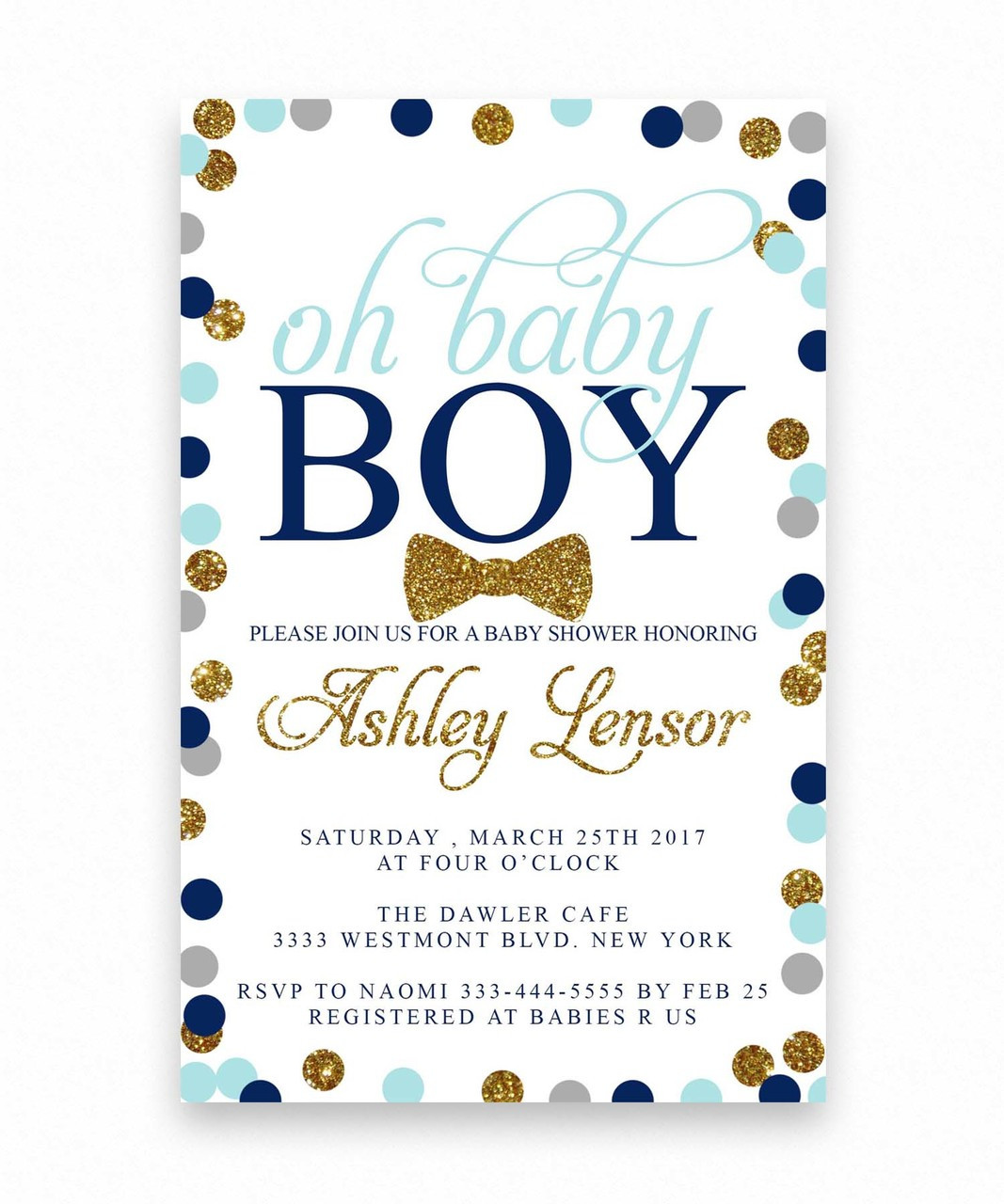 oh baby shower invitation, polka dot baby shower invitation, glitter ...