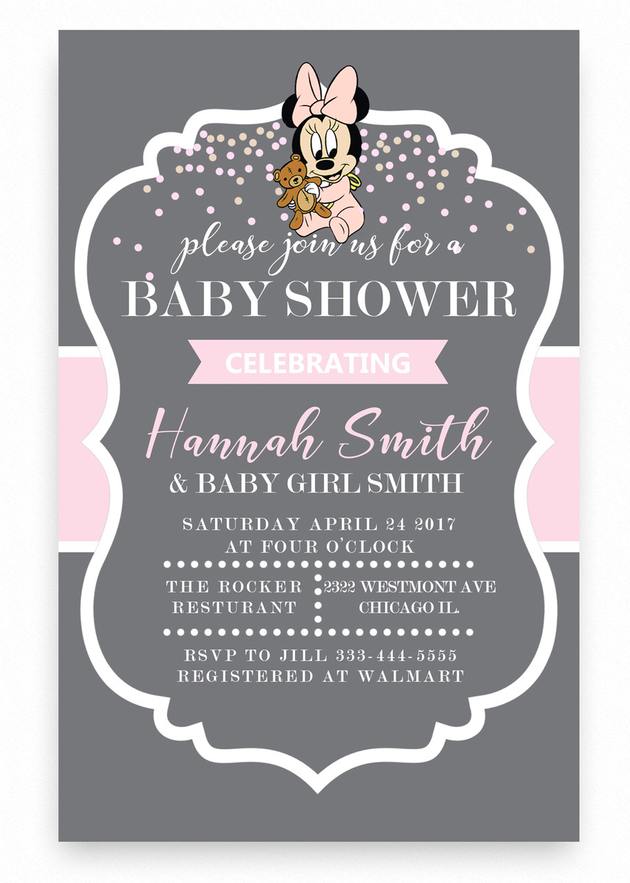 Minnie Mouse Baby Shower Invitation,Minnie Mouse Baby Shower Invitation,  Pink And Gray Invitation