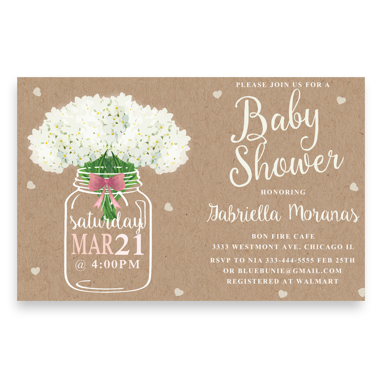 Burlap Baby Shower Invitation With Mason Jar And Flowersfloral