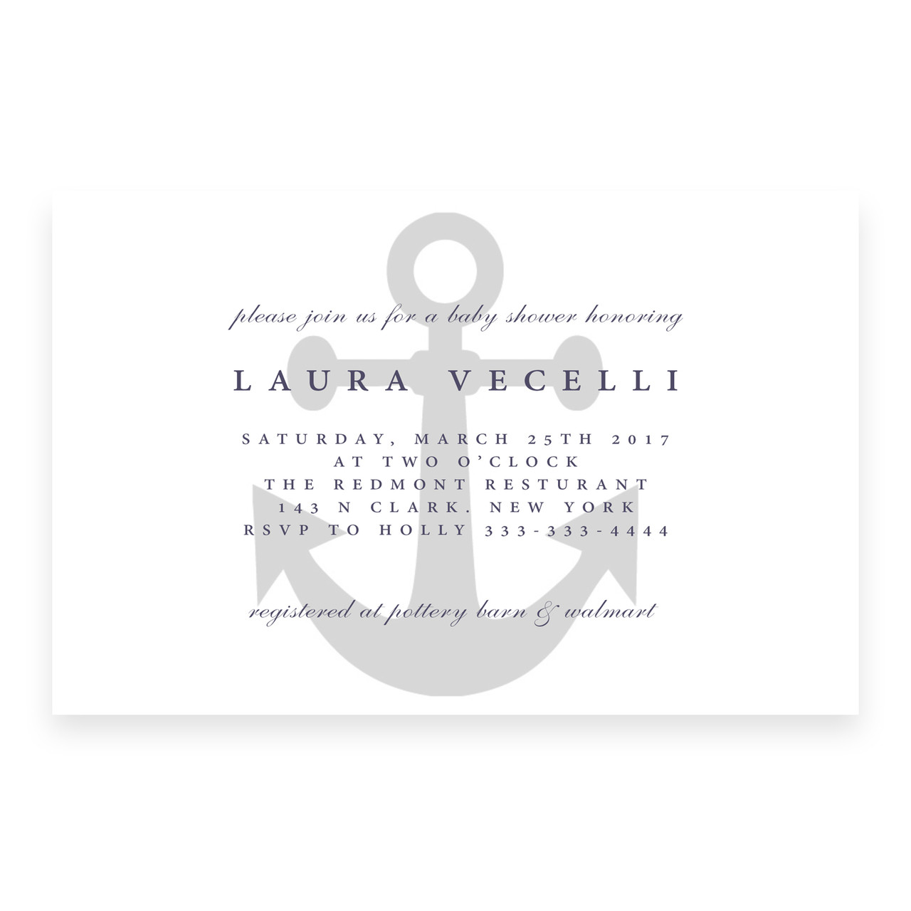 Nautical baby shower invitation anchor clean, simple