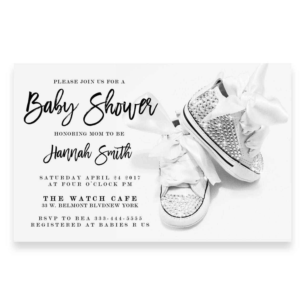 Rhinestone, swarovski crystal baby shoes, baby shower invitation