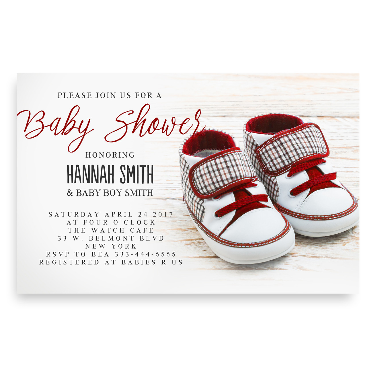 Cute baby sneakers, baby shower invitation