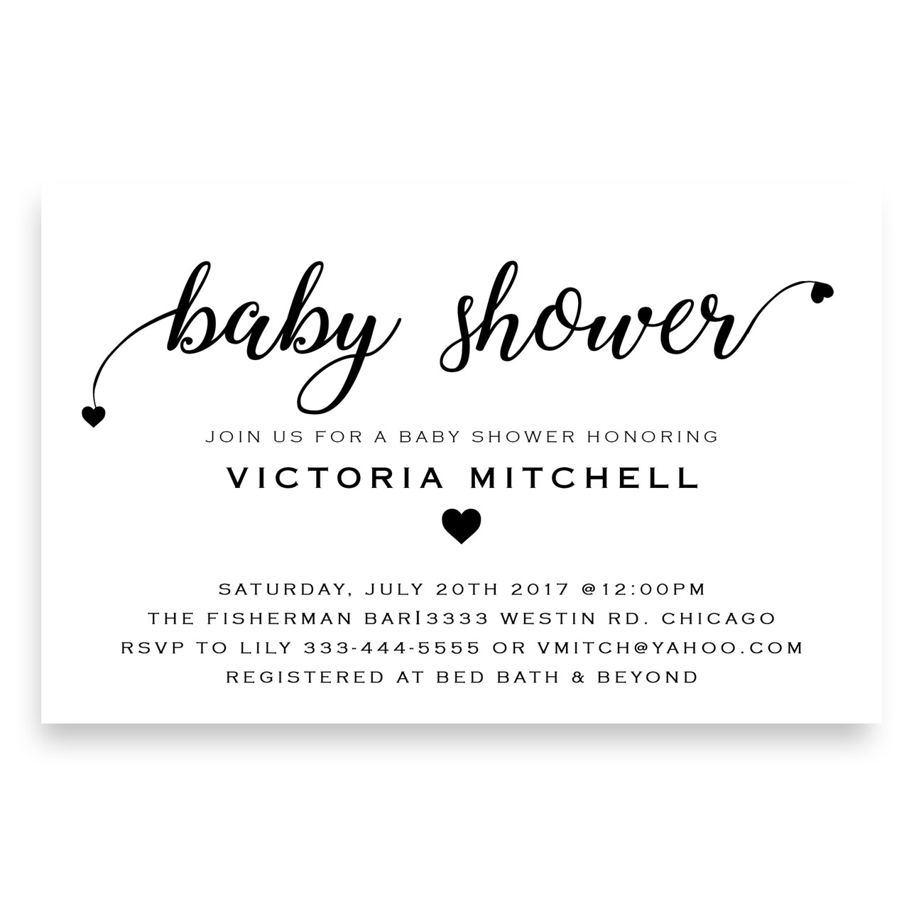 Love and hearts, baby shower invitation