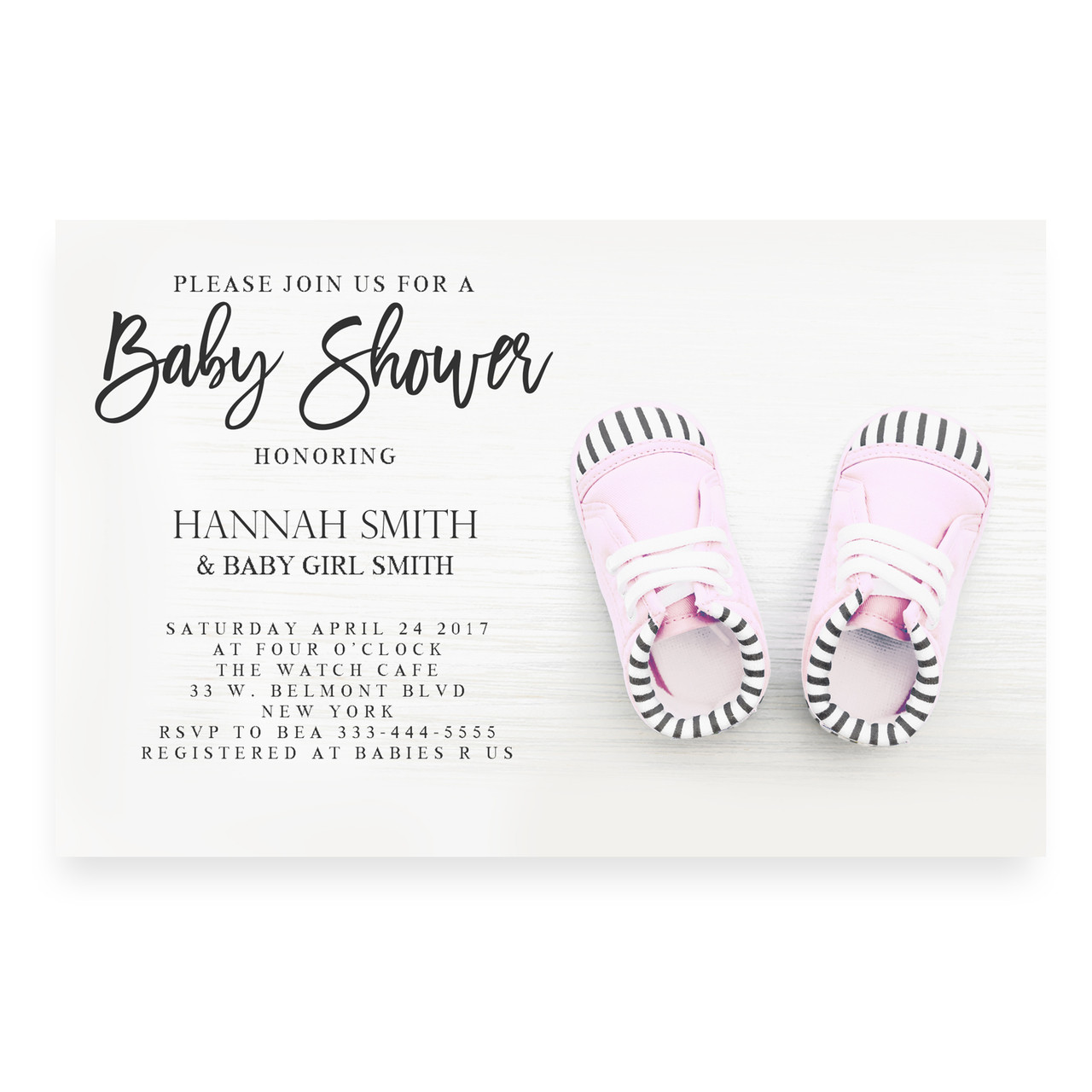 Pink baby shoes ,baby shower invitation
