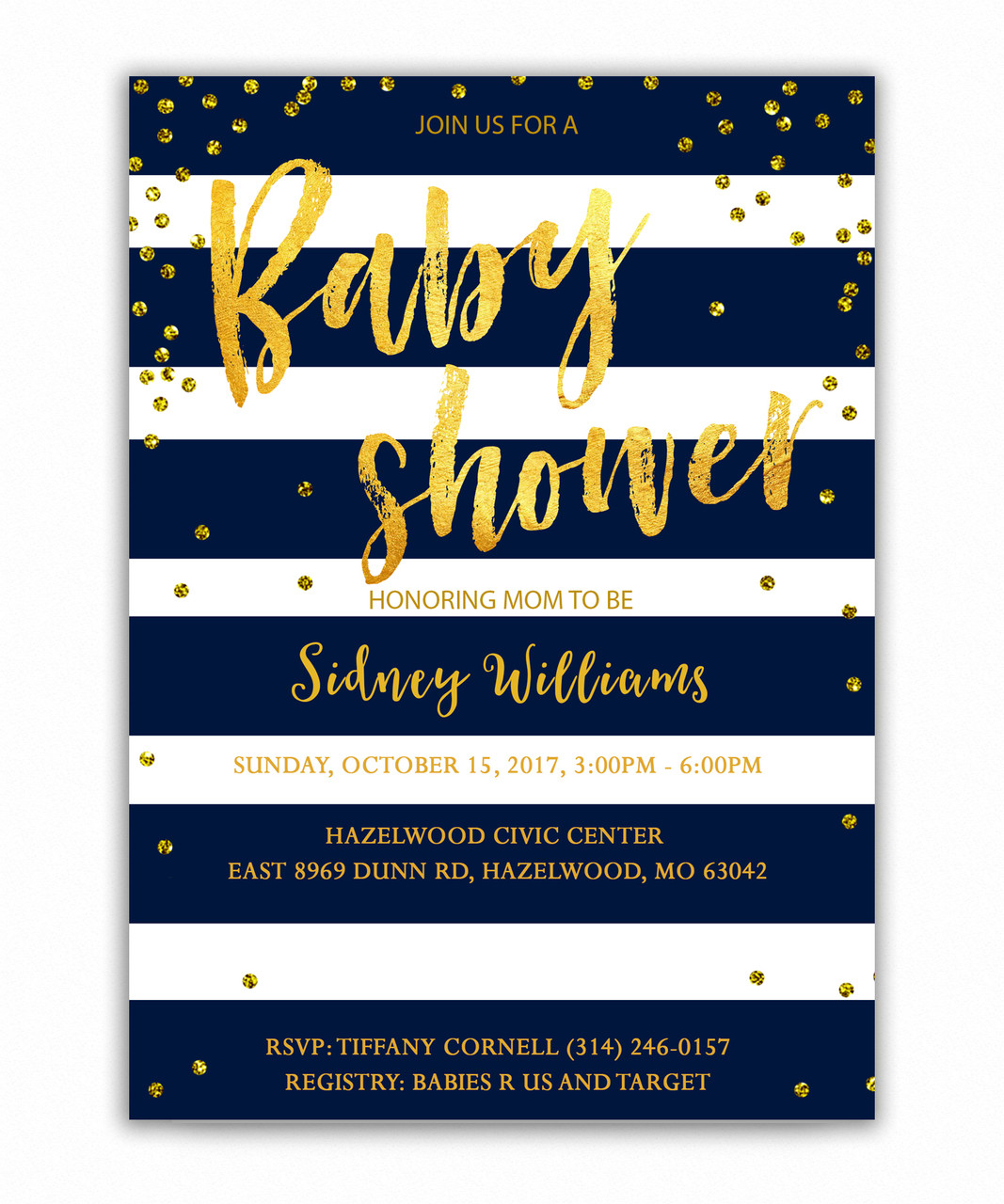 Navy blue gold glitter baby shower invitation