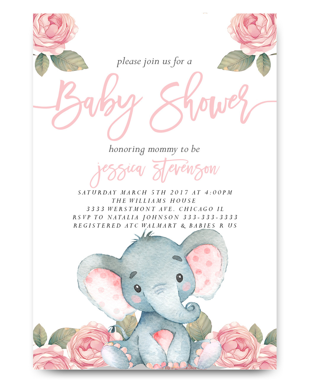 Elephant baby shower invitation, watercolor flowers