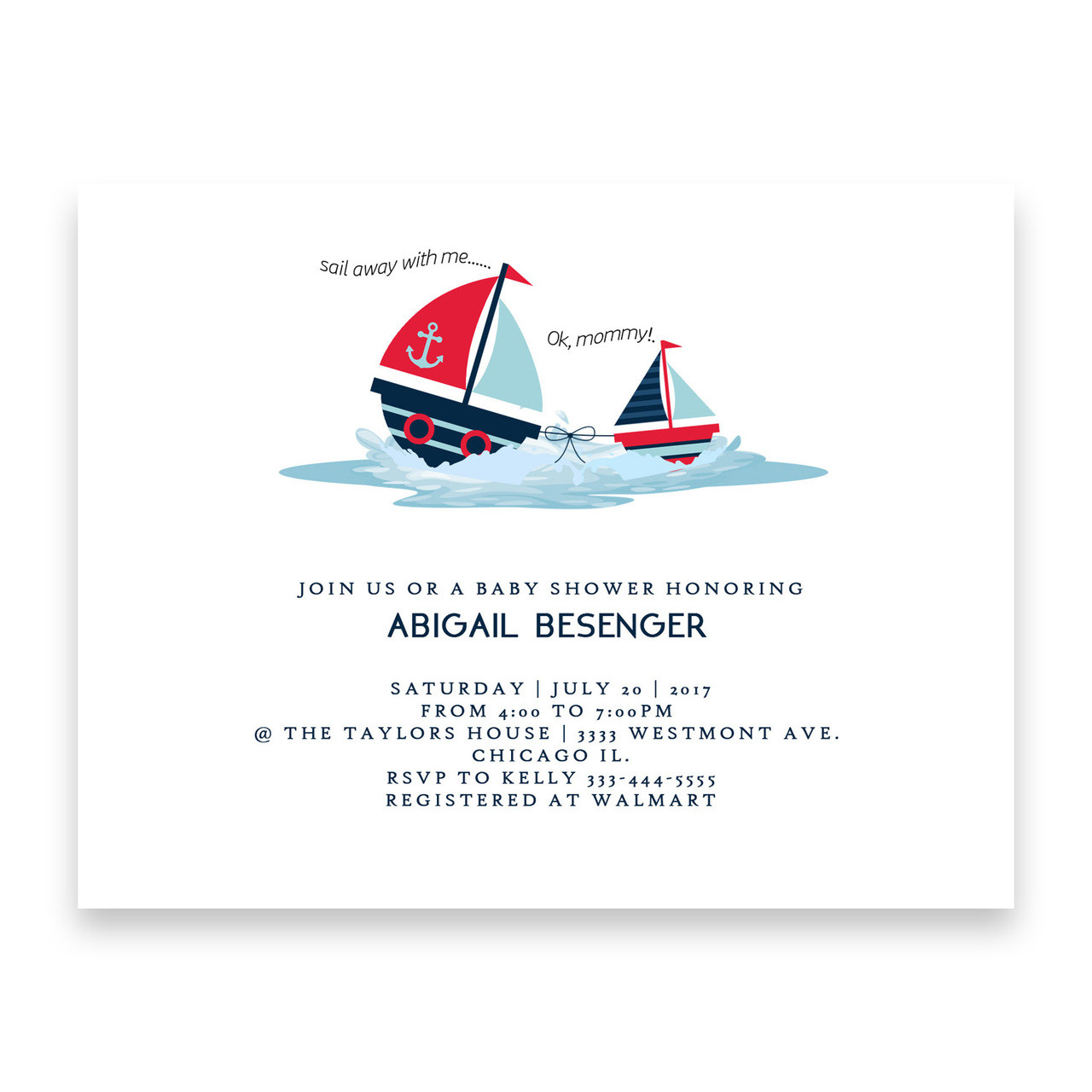 Nautical baby shower invitation, sail away with me